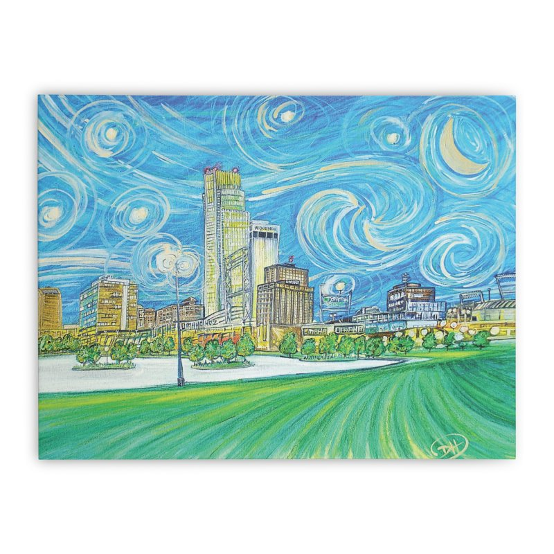 A Starry Night in Omaha Home Stretched Canvas by Brick Alley Studio's Artist Shop