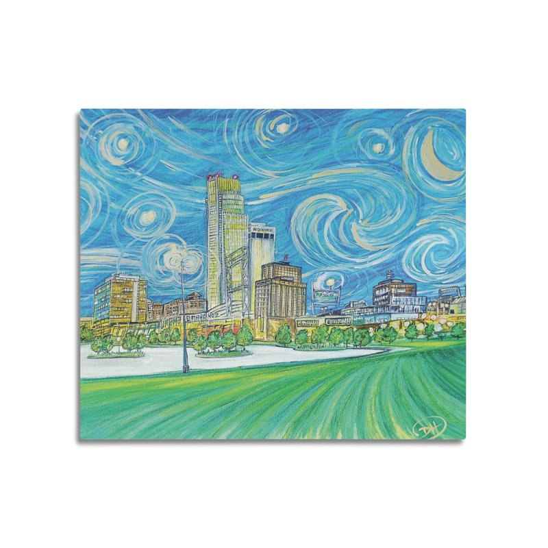 A Starry Night in Omaha Home Mounted Aluminum Print by Brick Alley Studio's Artist Shop