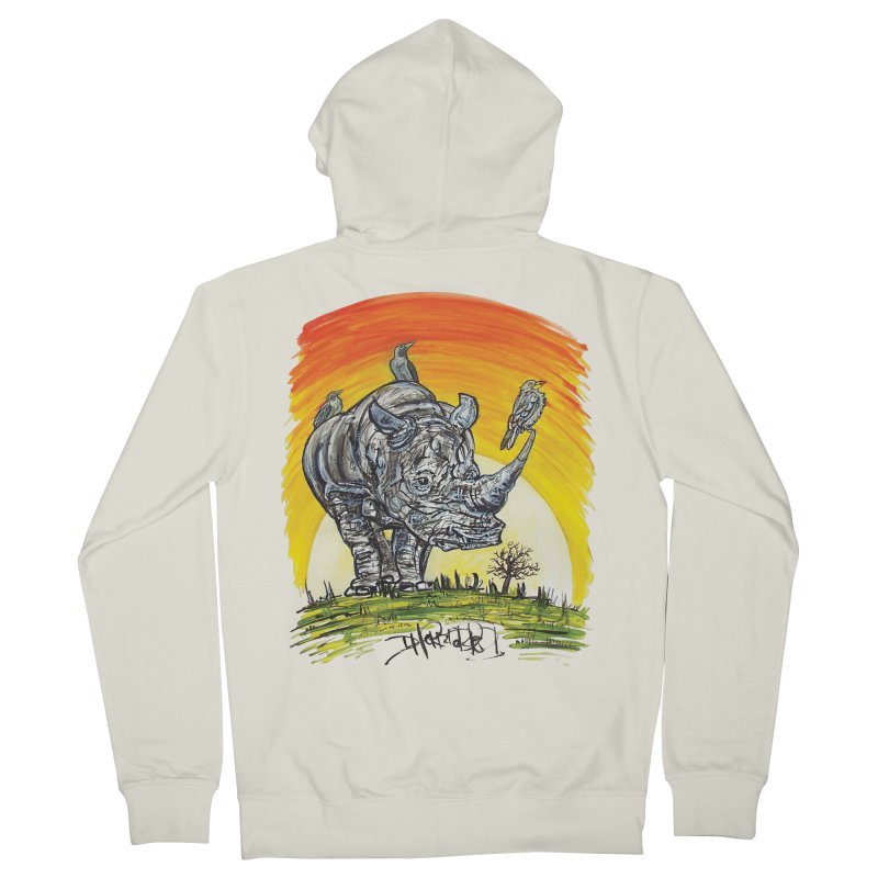 Three Little Birds Men's French Terry Zip-Up Hoody by Brick Alley Studio's Artist Shop