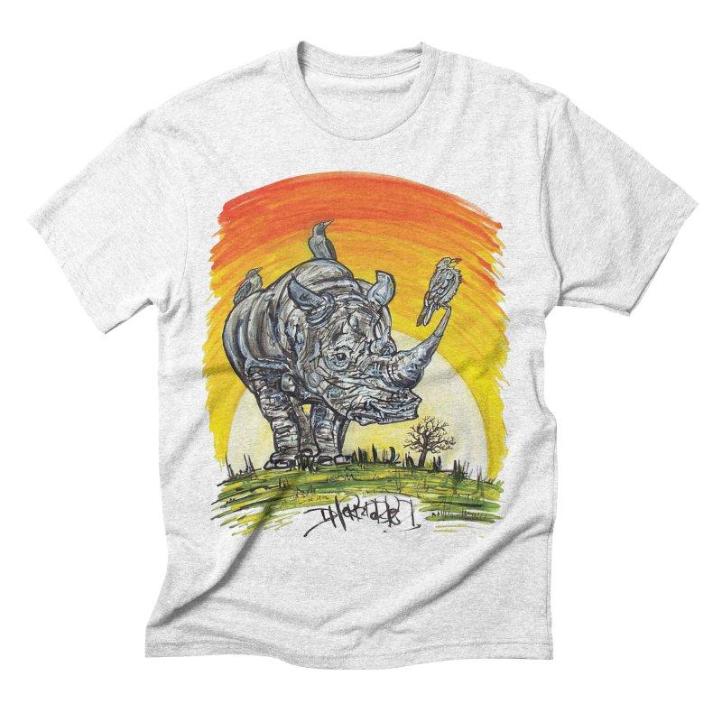 Three Little Birds in Men's Triblend T-shirt Heather White by Brick Alley Studio's Artist Shop