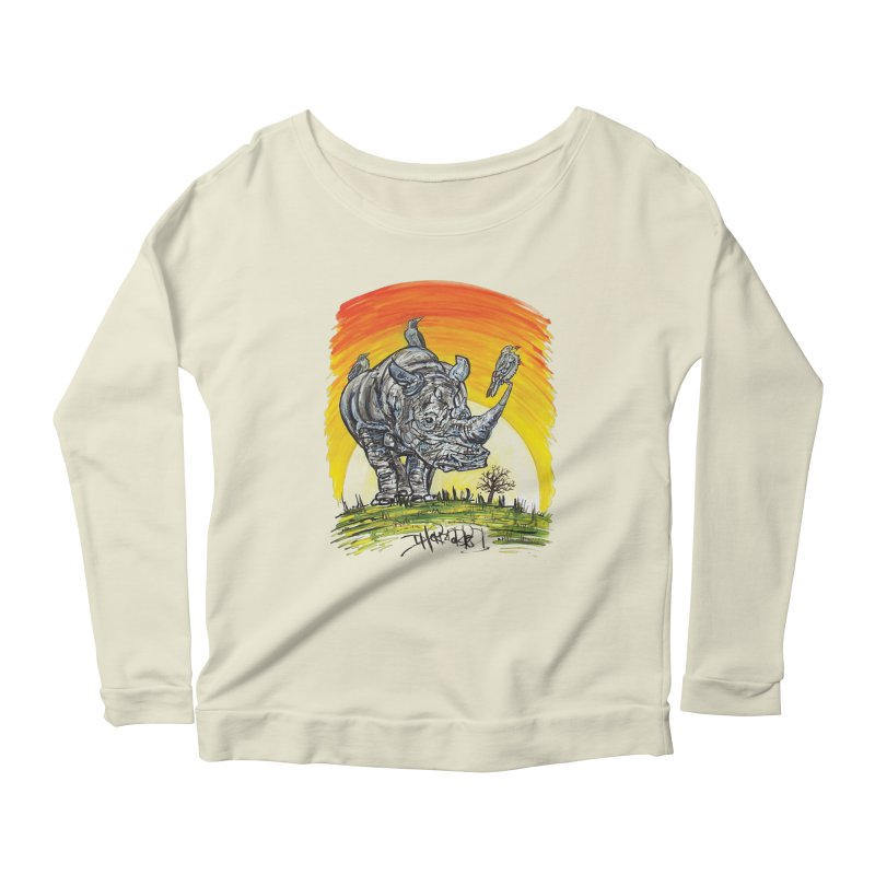 Three Little Birds Women's Scoop Neck Longsleeve T-Shirt by Brick Alley Studio's Artist Shop