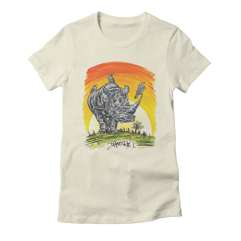 Three Little Birds Women's Fitted T-Shirt by Brick Alley Studio's Artist Shop