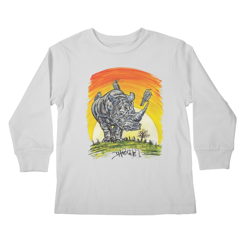 Three Little Birds Kids Longsleeve T-Shirt by Brick Alley Studio's Artist Shop