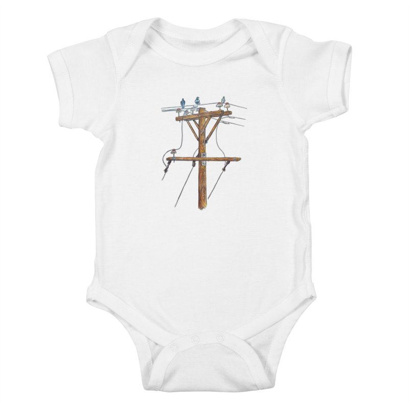 3 Little Birds Kids Baby Bodysuit by Brick Alley Studio's Artist Shop