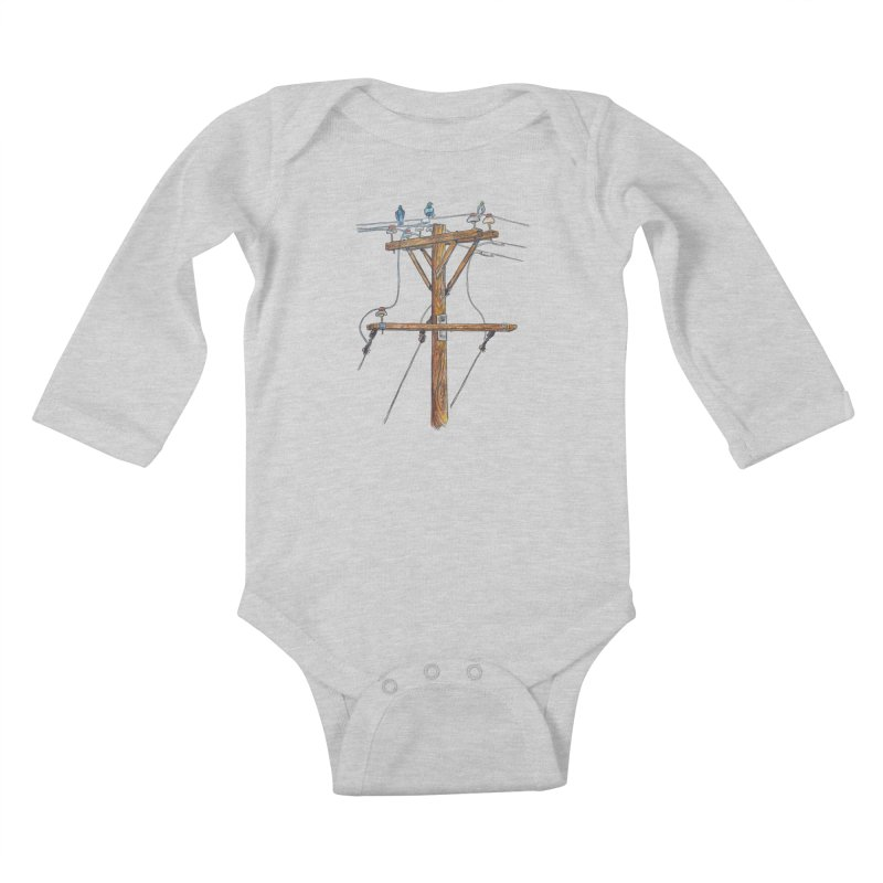 3 Little Birds Kids Baby Longsleeve Bodysuit by Brick Alley Studio's Artist Shop