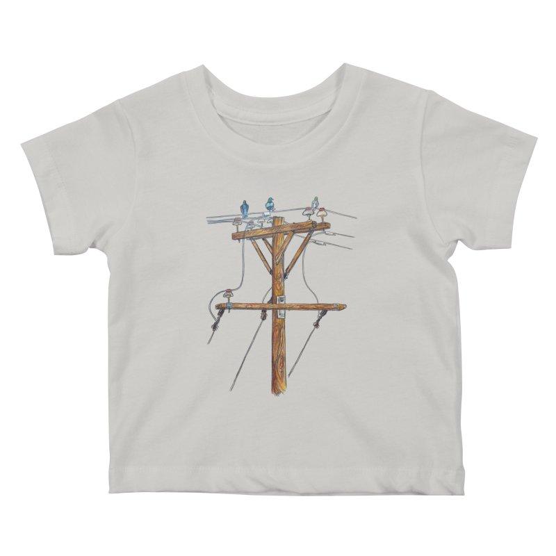 3 Little Birds Kids Baby T-Shirt by Brick Alley Studio's Artist Shop