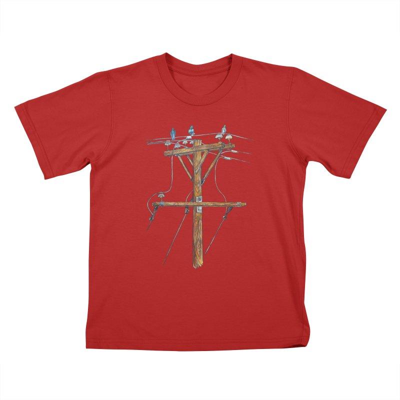 3 Little Birds Kids T-shirt by Brick Alley Studio's Artist Shop
