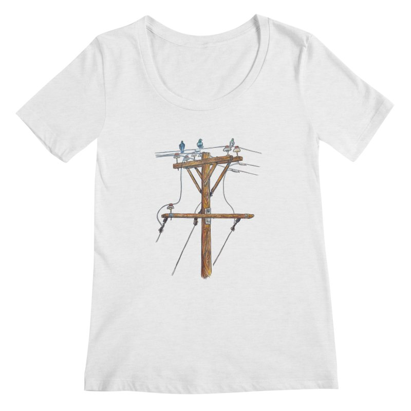 3 Little Birds Women's Regular Scoop Neck by Brick Alley Studio's Artist Shop