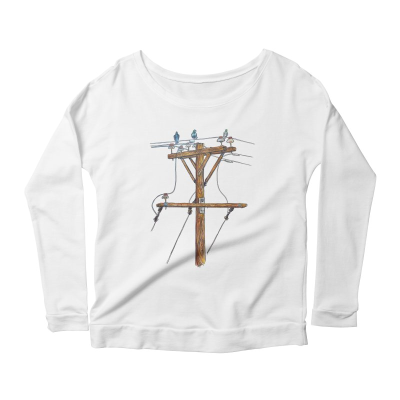 3 Little Birds Women's Longsleeve Scoopneck  by Brick Alley Studio's Artist Shop