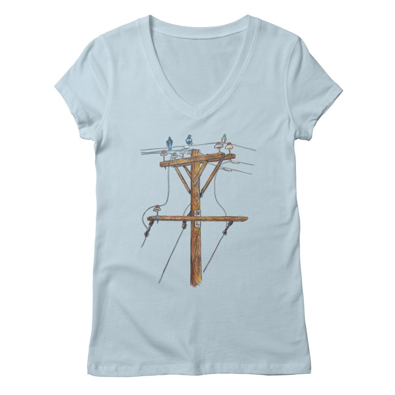 3 Little Birds Women's V-Neck by Brick Alley Studio's Artist Shop
