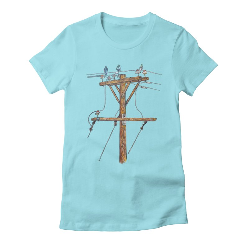 3 Little Birds Women's Fitted T-Shirt by Brick Alley Studio's Artist Shop