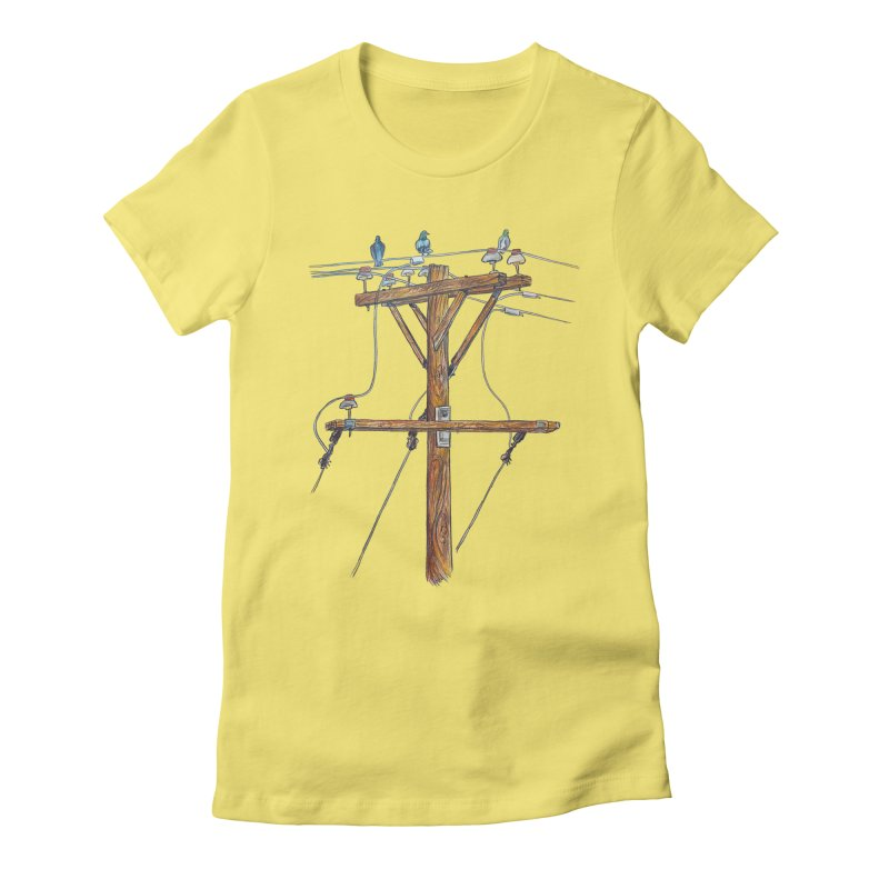 3 Little Birds Women's Fitted T-Shirt by Brick Alley Studio's Artist Shop