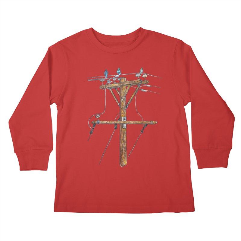 3 Little Birds Kids Longsleeve T-Shirt by Brick Alley Studio's Artist Shop