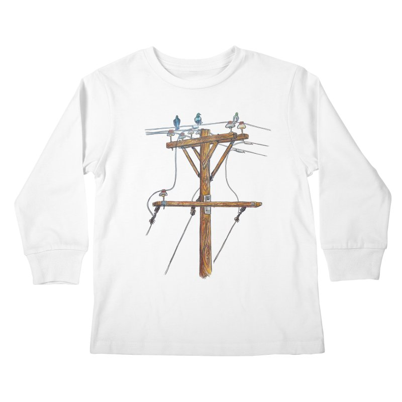 3 Little Birds Kids Longsleeve T-Shirt by Brick Alley Studio's Artist Shop
