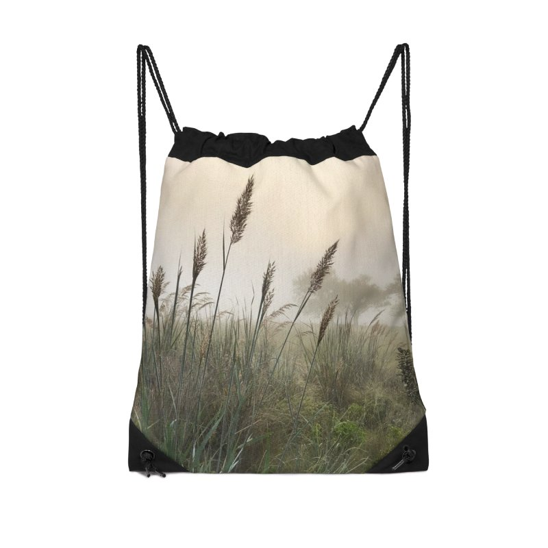 Grasslands in the Morning (photo) Accessories Drawstring Bag Bag by Brick Alley Studio's Artist Shop