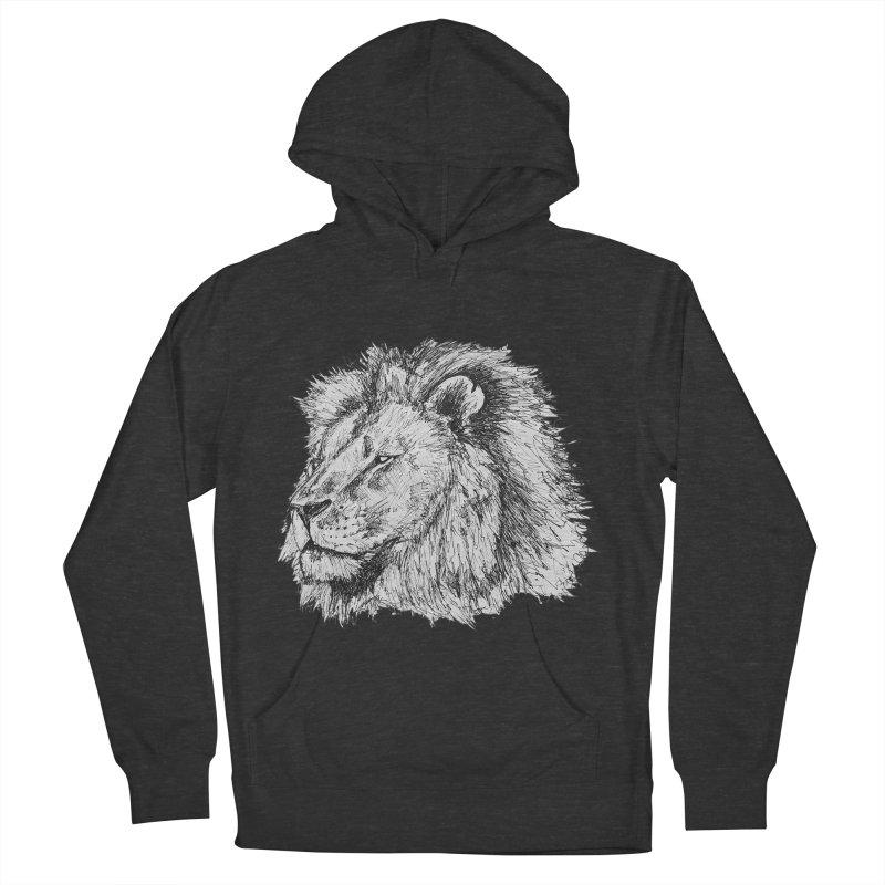 African Lion Pen Sketch Women's Pullover Hoody by Brick Alley Studio's Artist Shop