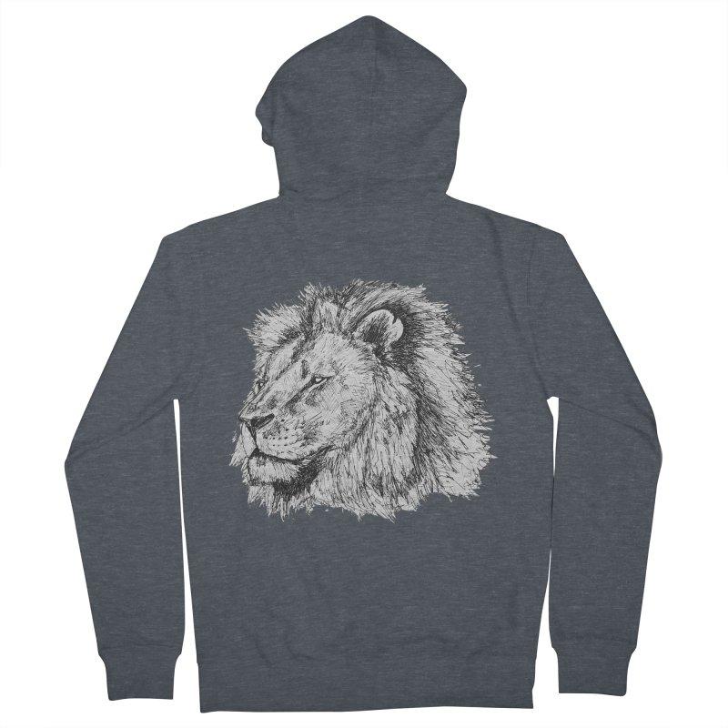 African Lion Pen Sketch Women's Zip-Up Hoody by Brick Alley Studio's Artist Shop