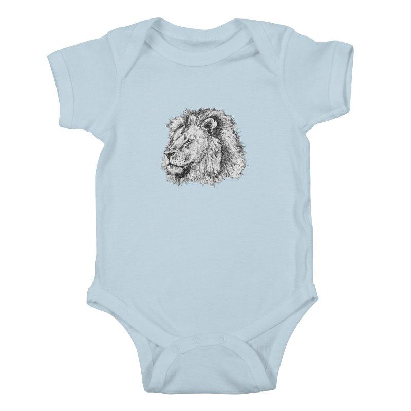 African Lion Pen Sketch Kids Baby Bodysuit by Brick Alley Studio's Artist Shop