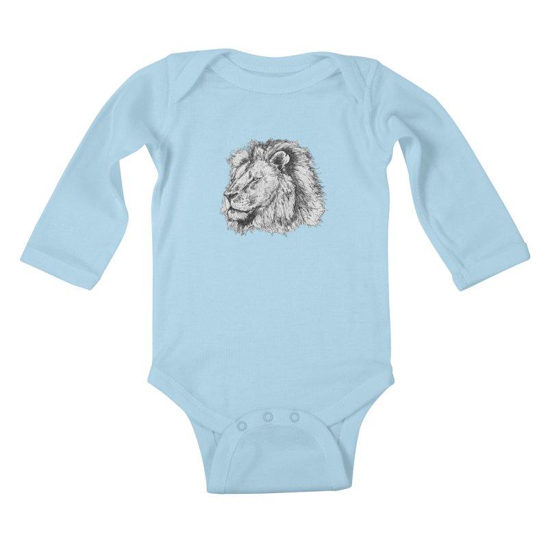 African Lion Pen Sketch Kids Baby Longsleeve Bodysuit by Brick Alley Studio's Artist Shop