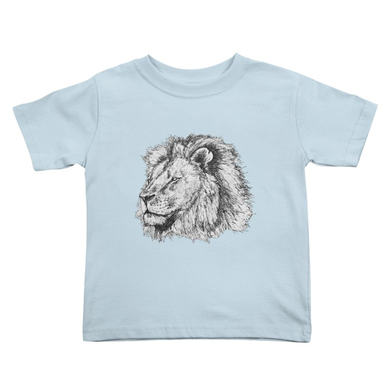 African Lion Pen Sketch Kids Toddler T-Shirt by Brick Alley Studio's Artist Shop