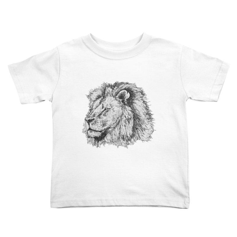 African Lion Pen Sketch Kids Toddler T-Shirt by Brick Alley Studio's Artist Shop