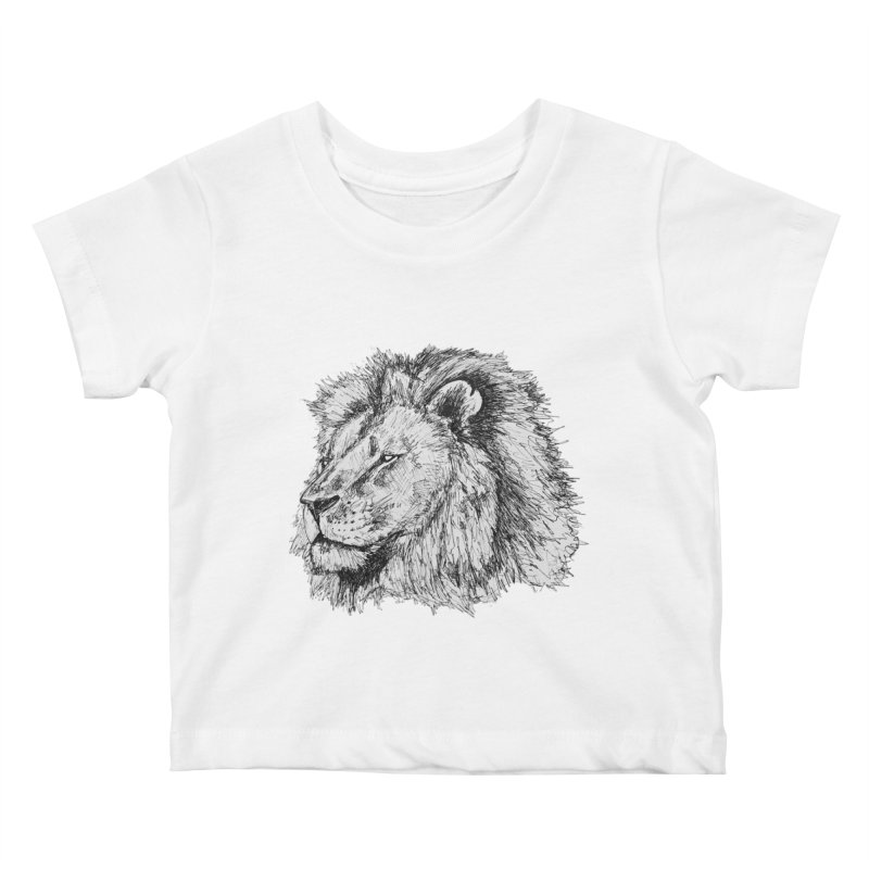 African Lion Pen Sketch Kids Baby T-Shirt by Brick Alley Studio's Artist Shop