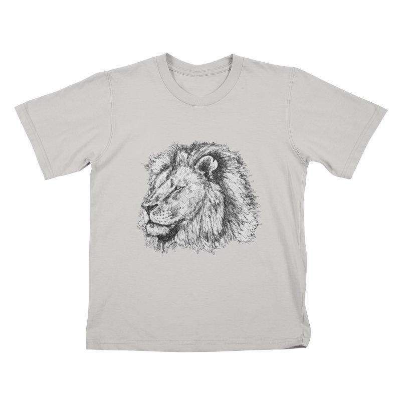 African Lion Pen Sketch Kids T-shirt by Brick Alley Studio's Artist Shop