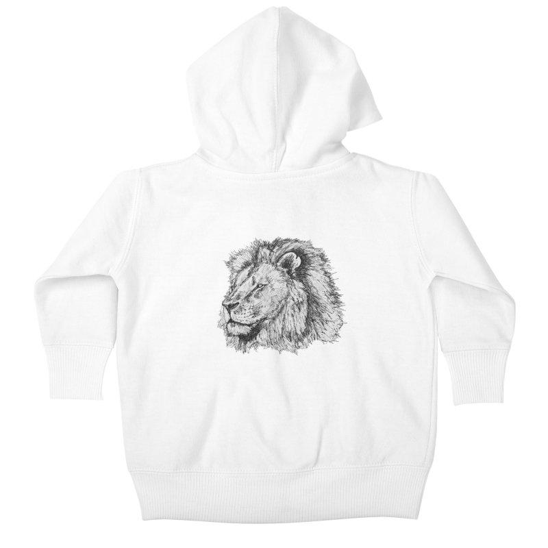 African Lion Pen Sketch Kids Baby Zip-Up Hoody by Brick Alley Studio's Artist Shop