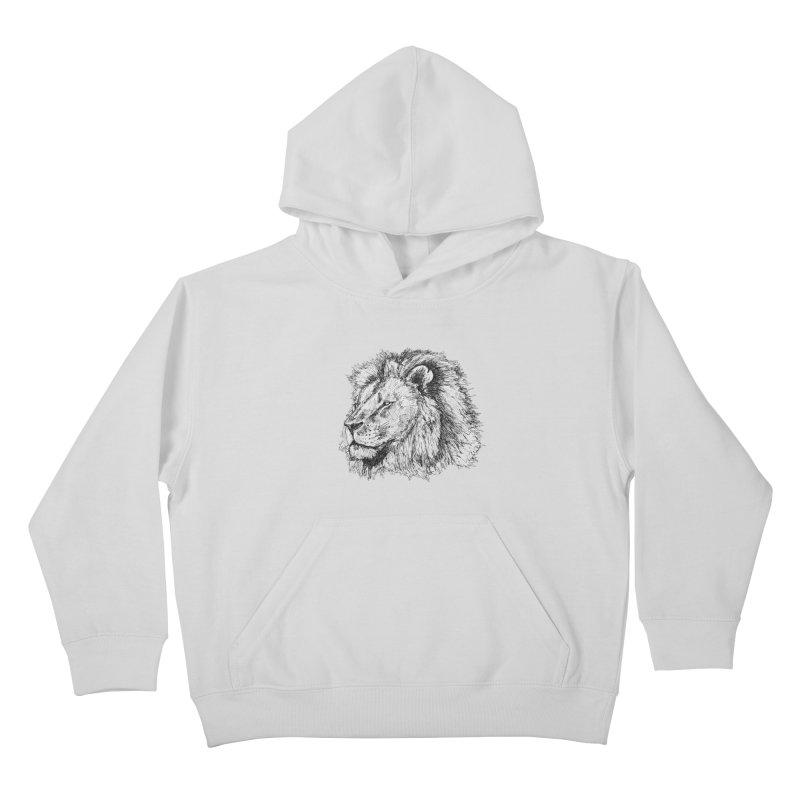 African Lion Pen Sketch Kids Pullover Hoody by Brick Alley Studio's Artist Shop