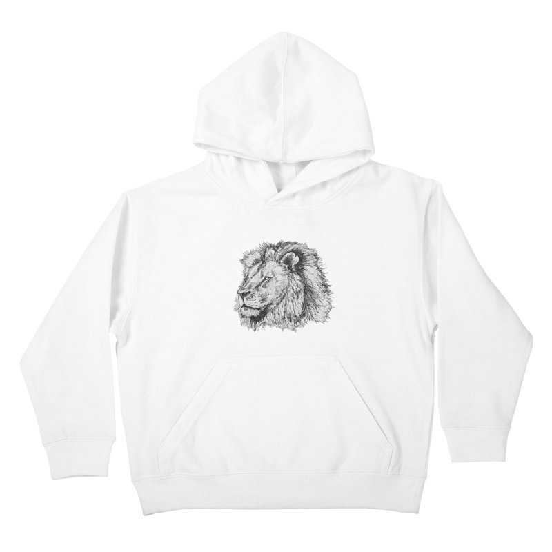 African Lion Pen Sketch Kids Pullover Hoody by Brick Alley Studio's Artist Shop