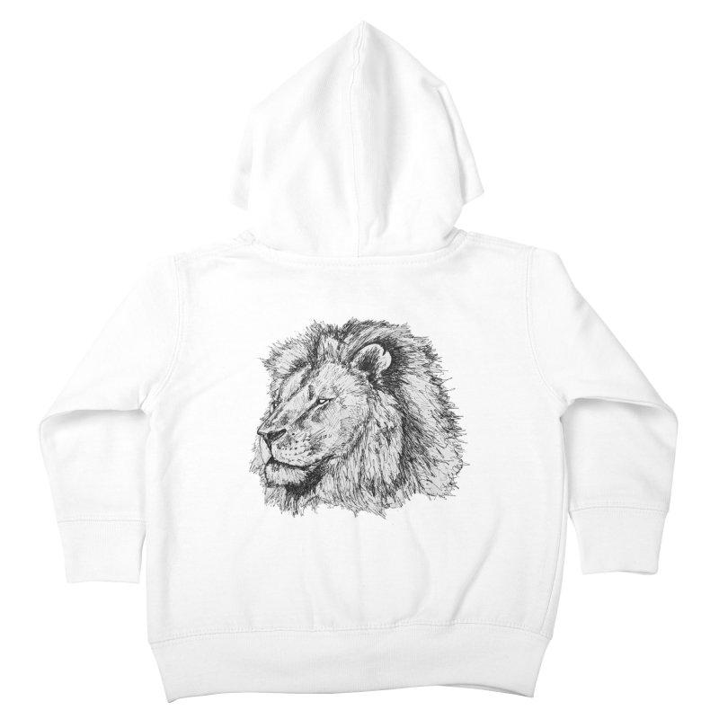 African Lion Pen Sketch Kids Toddler Zip-Up Hoody by Brick Alley Studio's Artist Shop