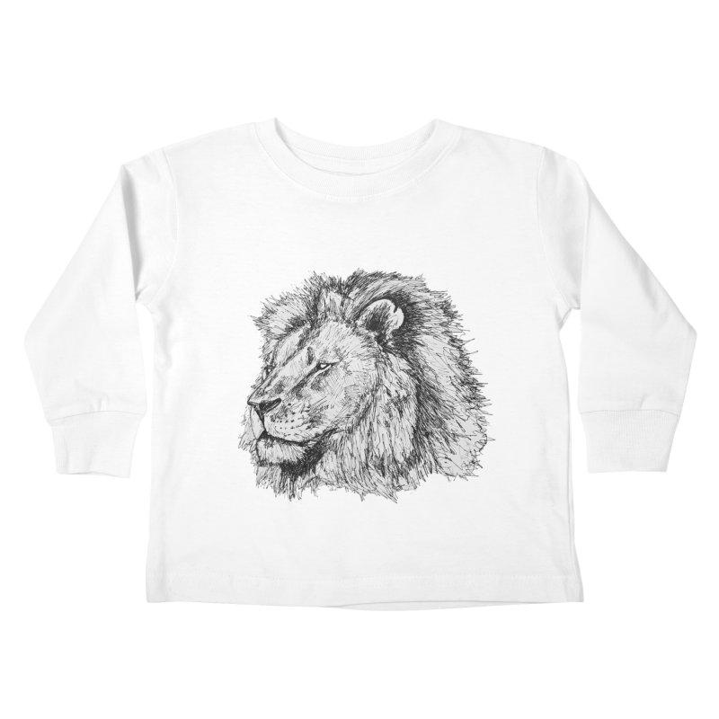 African Lion Pen Sketch Kids Toddler Longsleeve T-Shirt by Brick Alley Studio's Artist Shop