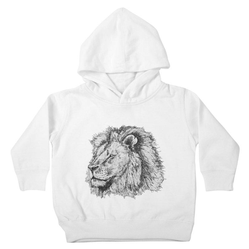 African Lion Pen Sketch Kids Toddler Pullover Hoody by Brick Alley Studio's Artist Shop