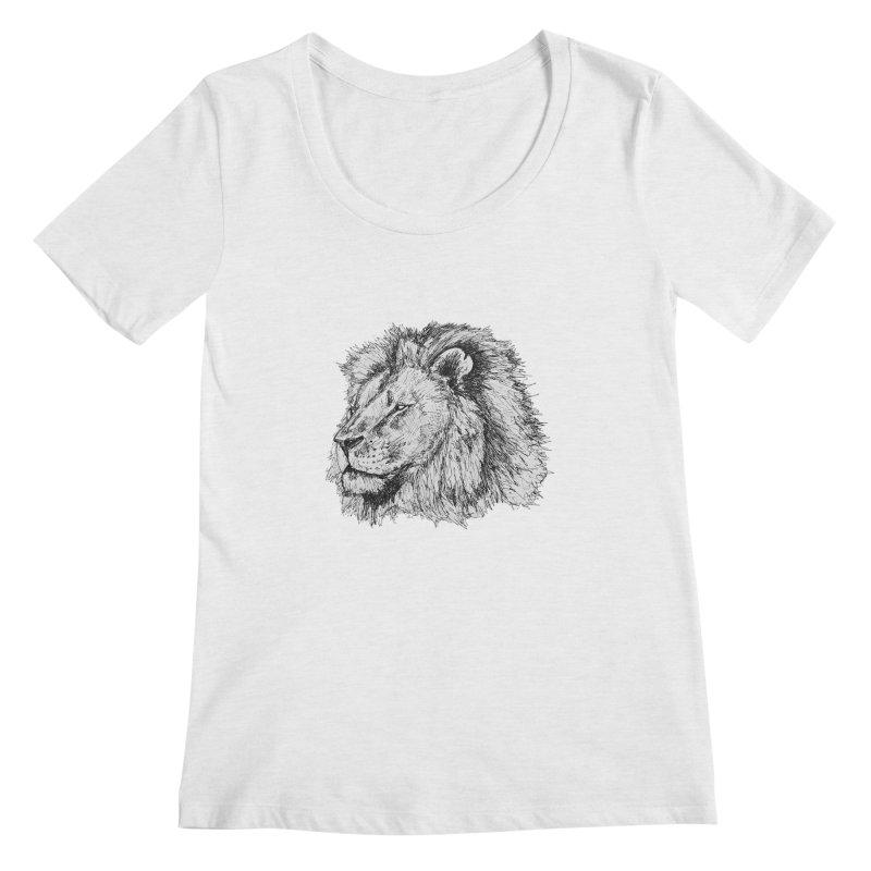 African Lion Pen Sketch Women's Scoopneck by Brick Alley Studio's Artist Shop