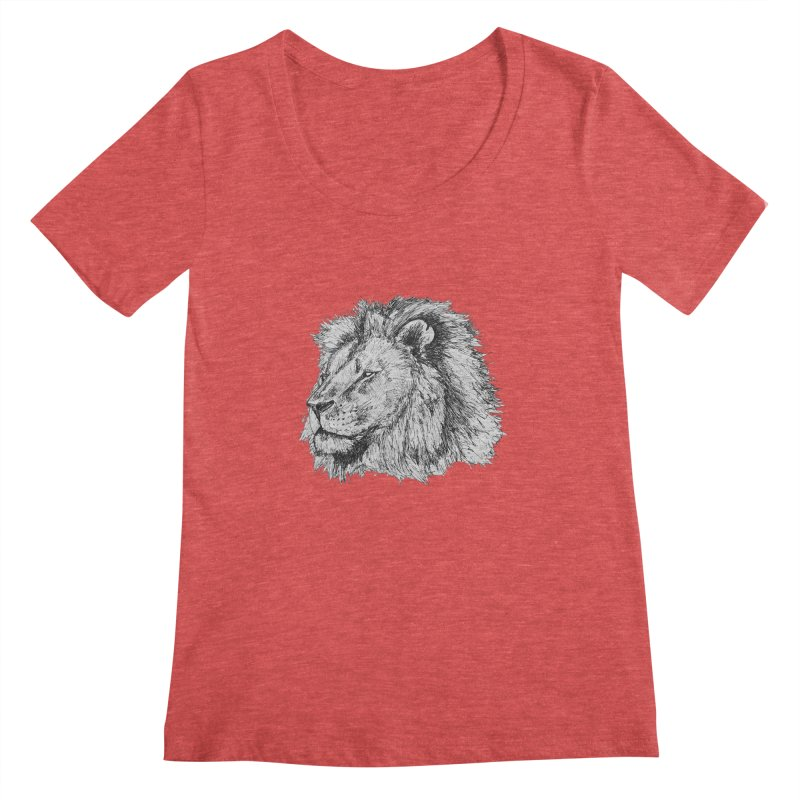 African Lion Pen Sketch Women's Scoopneck by Brick Alley Studio's Artist Shop