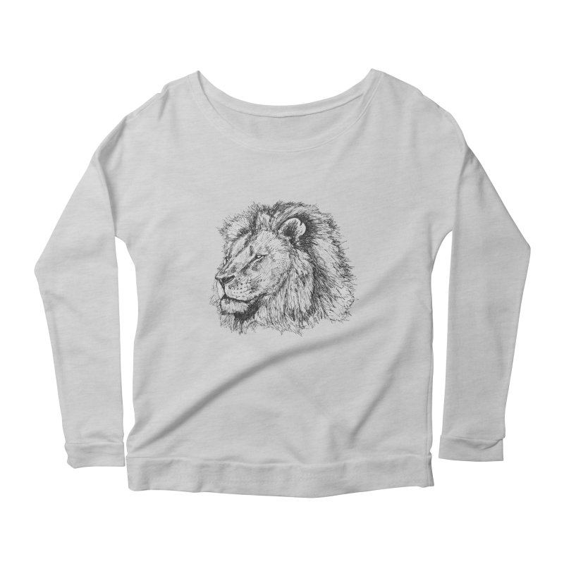 African Lion Pen Sketch Women's Longsleeve Scoopneck  by Brick Alley Studio's Artist Shop