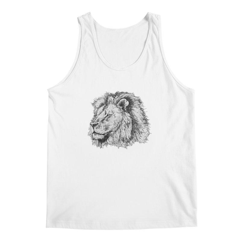 African Lion Pen Sketch Men's Tank by Brick Alley Studio's Artist Shop