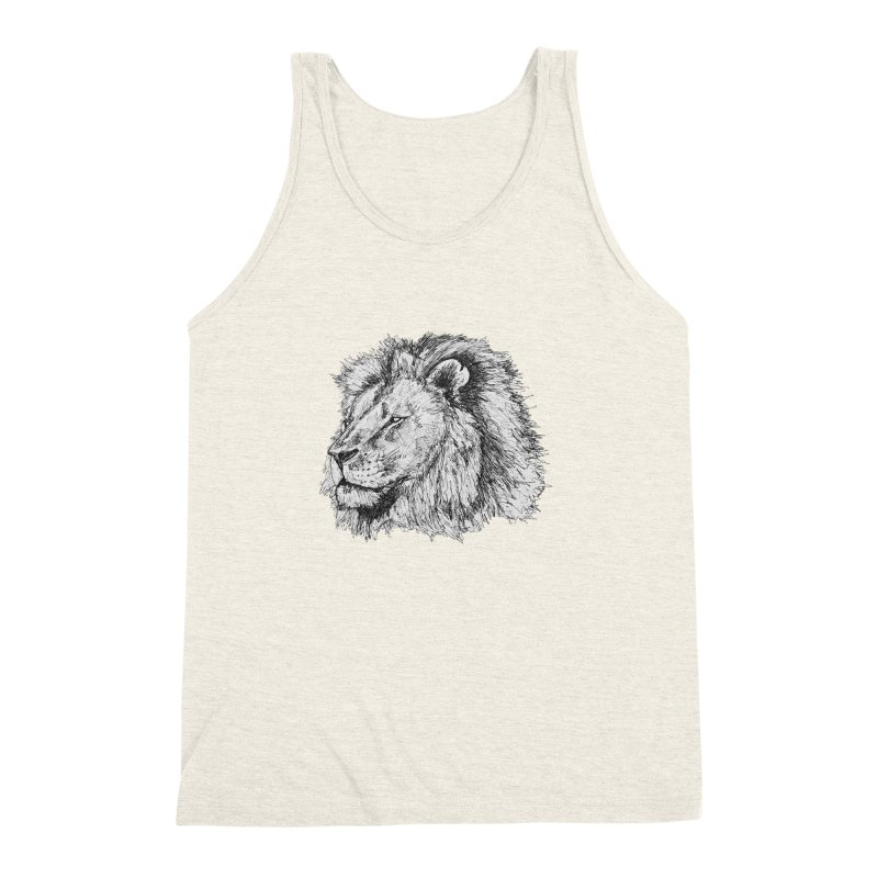 African Lion Pen Sketch Men's Triblend Tank by Brick Alley Studio's Artist Shop