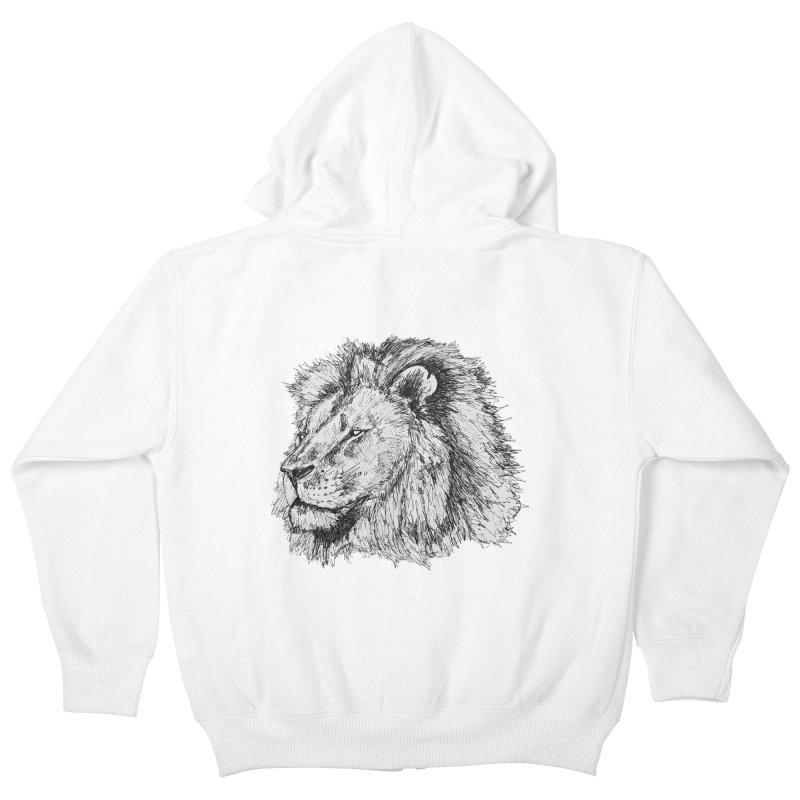 African Lion Pen Sketch Kids Zip-Up Hoody by Brick Alley Studio's Artist Shop