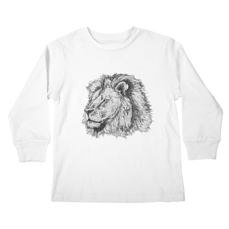 African Lion Pen Sketch Kids Longsleeve T-Shirt by Brick Alley Studio's Artist Shop