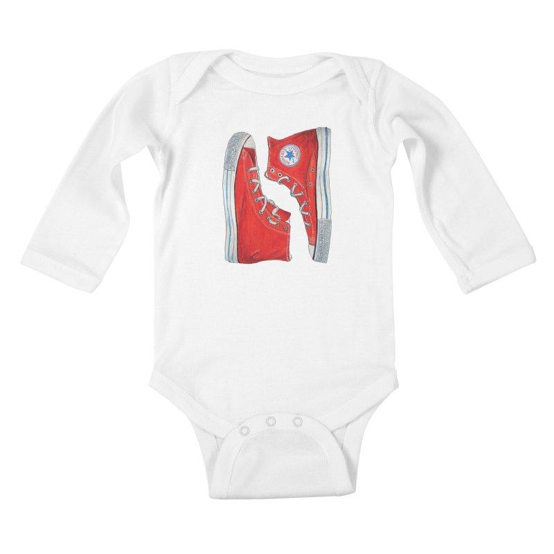Omaha Nebraska Chucks Kids Baby Longsleeve Bodysuit by Brick Alley Studio's Artist Shop