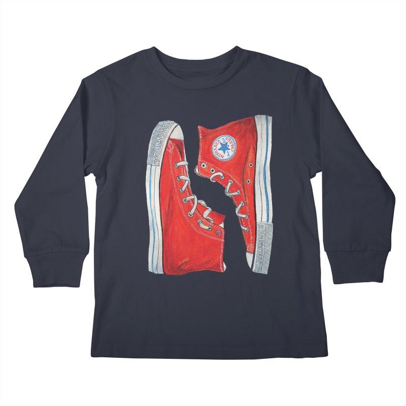 Omaha Nebraska Chucks Kids Longsleeve T-Shirt by Brick Alley Studio's Artist Shop