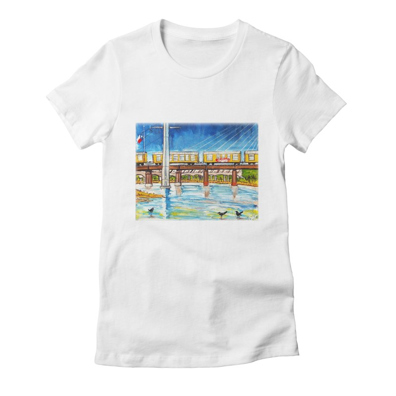 Train at Trinity Trail Women's Fitted T-Shirt by Brick Alley Studio's Artist Shop