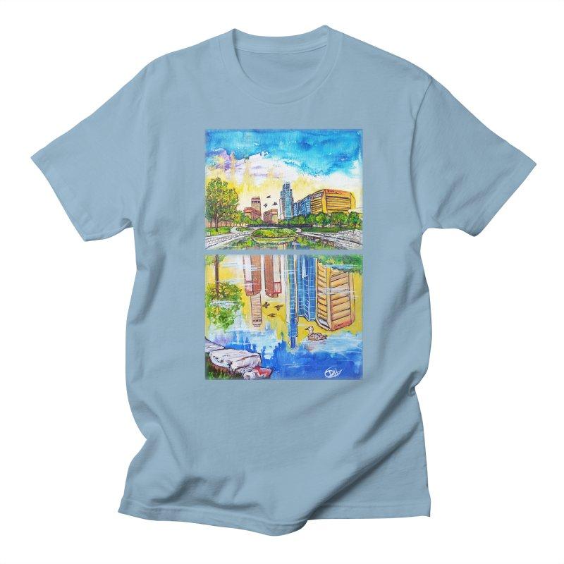 Downtown Reflecting Omaha Men's T-shirt by Brick Alley Studio's Artist Shop