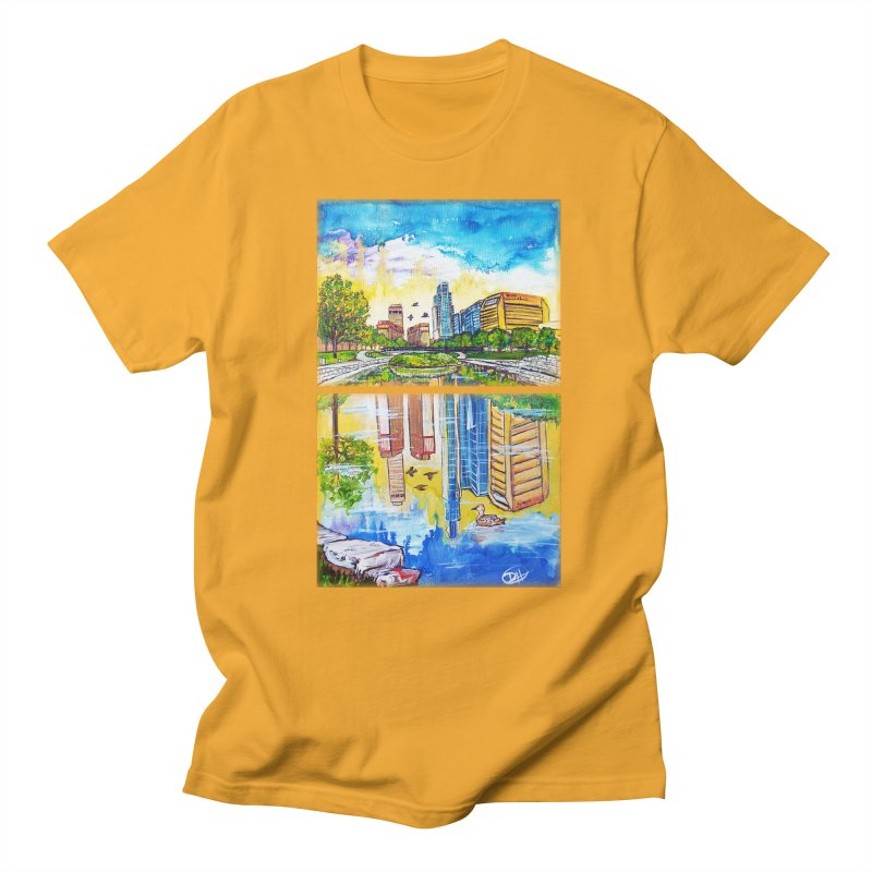 Downtown Reflecting Omaha Men's T-shirt by Brick Alley Studio's Artist Shop