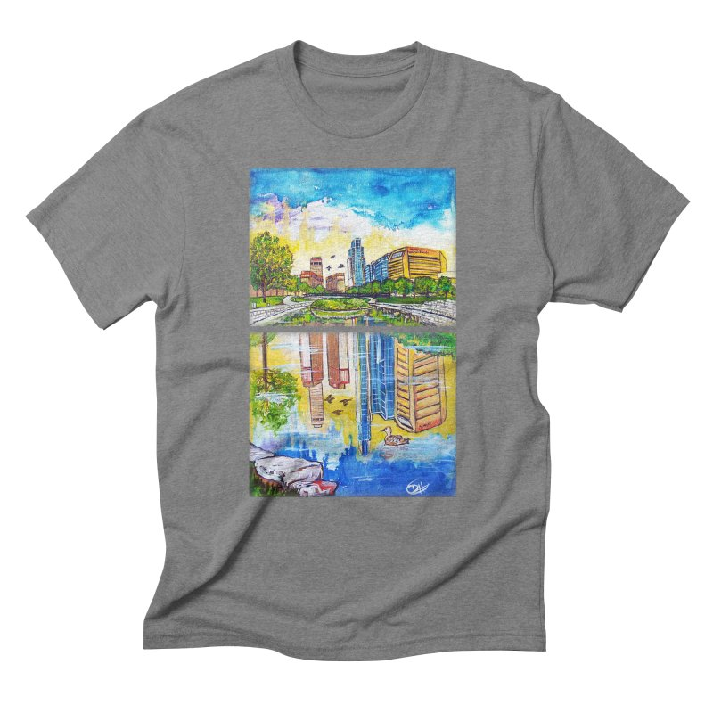 Downtown Reflecting Omaha Men's Triblend T-shirt by Brick Alley Studio's Artist Shop