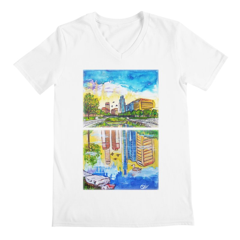 Downtown Reflecting Omaha Men's V-Neck by Brick Alley Studio's Artist Shop