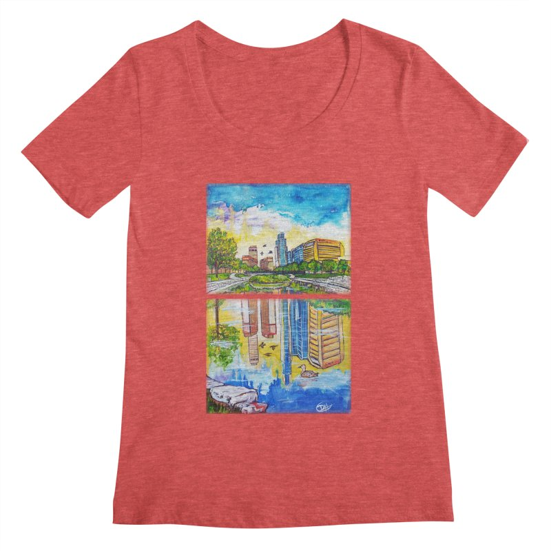 Downtown Reflecting Omaha Women's Scoopneck by Brick Alley Studio's Artist Shop