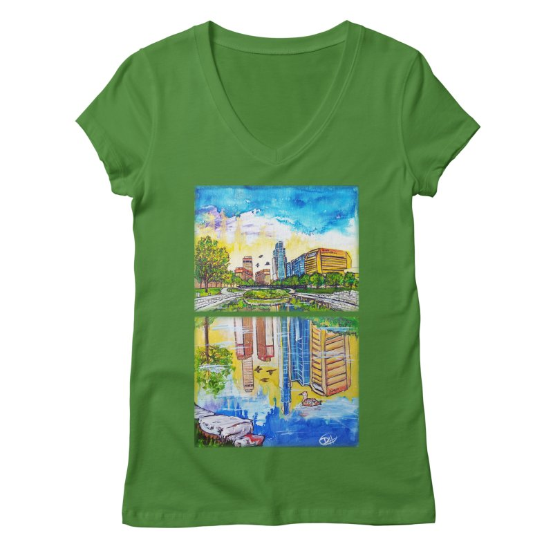 Downtown Reflecting Omaha Women's V-Neck by Brick Alley Studio's Artist Shop