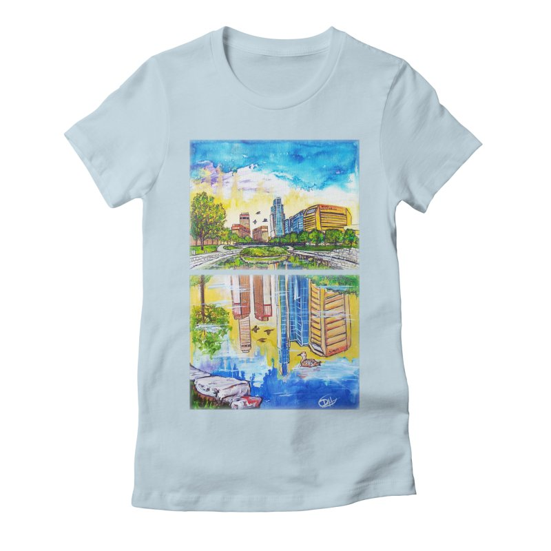 Downtown Reflecting Omaha Women's Fitted T-Shirt by Brick Alley Studio's Artist Shop